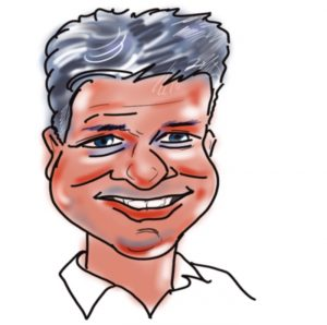 Caricature of Jeremy Taylor, Kingsley Roofing management