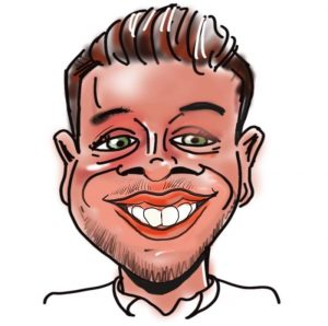 Caricature of Matt Moore, Kingsley Roofing contracts manager